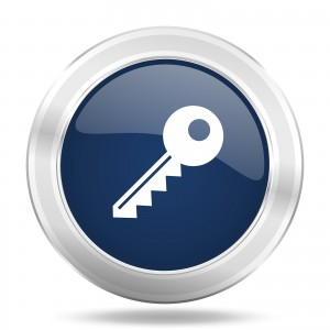 key icon, dark blue round metallic internet button, web and mobi