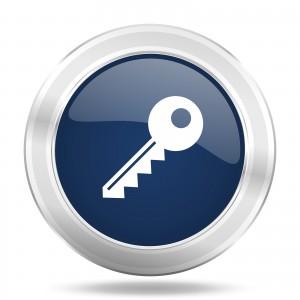key icon, dark blue round metallic internet button, web and mobi