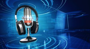 Webinar, Online Education and Training concept - Microphone and