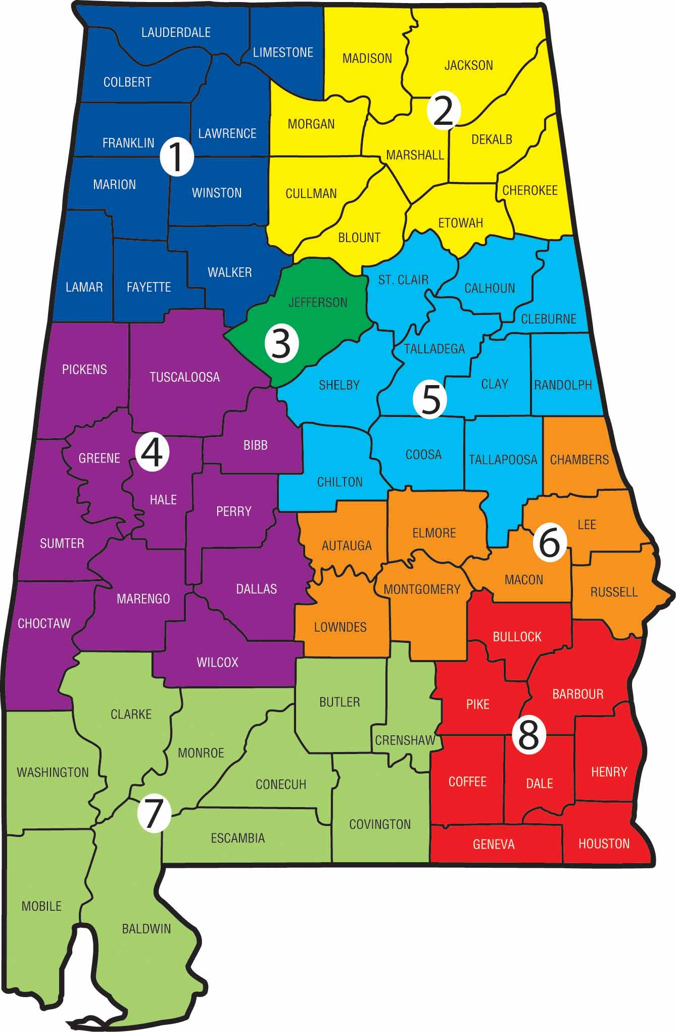 Alabama Counties Map District Map | ACCA Alabama Counties Map