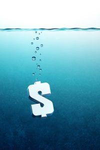 sinking dollar symbol, 3d render