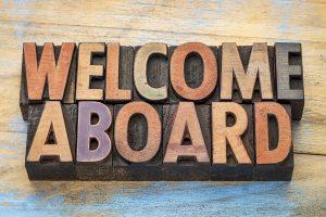 welcome aboard sign in vintage letterpress wood type blocks stai